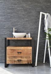 MD Interior wastafelmeubel Woodz 80cm met waskom ovaal wit