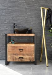 MD Interior wastafelmeubel Woodz 80cm met waskom ovaal zwart