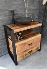 MD Interior wastafelmeubel Woodz 80cm met waskom rond natuursteen