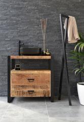 MD Interior wastafelmeubel Woodz 80cm met waskom vierkant zwart