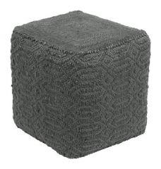 Home Delight Poef kubus donker grijs jute