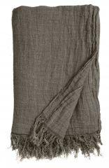 Nordal Denmark woonaccessoires linnen plaid grijs met franje