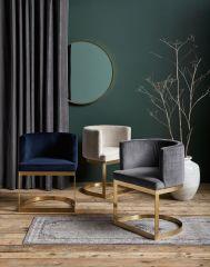 Nordal LOUNGE eetkamerstoel grijs velvet met gouden frame