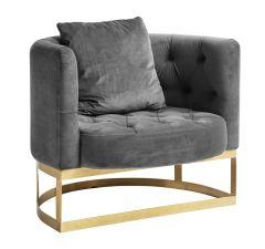 Nordal Denmark fauteuil grijs metaal/velvet