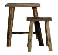 Nordal Denmark stoere houten krukjes set