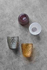 Nordal DIAMOND waterglas/ waxinelichthouder smoke set van 6