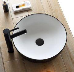 Saniclear Pura waskom 42cm wastafel wit met zwarte buitenkant