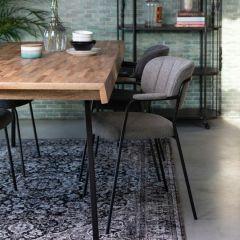MD Interior eetkamerstoel Jolien met armleuning grijs / zwart - set van 2