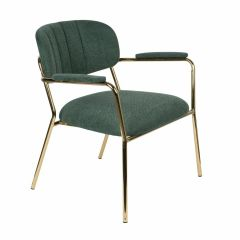 MD Interior loungestoel Jolien met armleuning donker groen / goud- set van 2