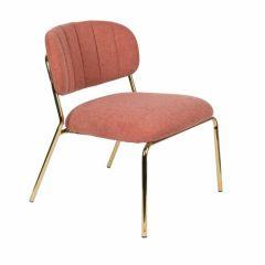 MD Interior loungestoel Jolien roze / goud - set van 2