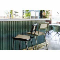 Zuiver counter chair Jort retro rattan zwart / naturel ( set van 2 )