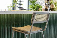 Zuiver counter chair Jort retro rattan licht grijs / naturel ( set van 2 )