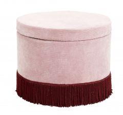 Nordal Cordu poef corduroy met franjes roze Ø60