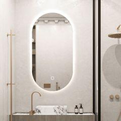 Saniclear Parma ovale spiegel met LED-verlichting en spiegelverwarming 100 x 50 cm