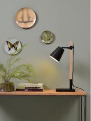 Its About RoMi Sydney tafellamp ijzer essenhout zwart naturel