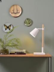 Its About RoMi Sydney tafellamp ijzer essenhout wit naturel