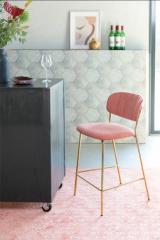 MD Interior barstoel Jolien roze / goud - set van 2