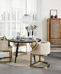 Nordal LOUNGE eetkamerstoel créme wit velvet met gouden frame