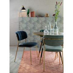MD Interior eetkamerstoel Jolien donker blauw / goud 2 stuks
