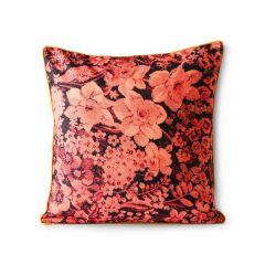 HKliving  Floral geprint bloemen kussen koraal / zwart 50 x 50 cm