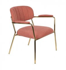 MD Interior loungestoel Jolien met armleuning roze/ goud - set van 2