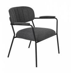 MD Interior loungestoel Jolien met armleuning donker grijs / zwart - set van 2