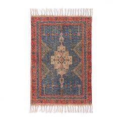 HKliving  bedrukt badmat rood / blauw overtufted 60 x 90 cm