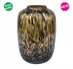 Vase the World Artic gold cheetah Ø25 x H35 cm