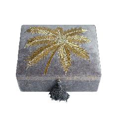 À la velvet box met palmboom kralen zilver grijs   15x20x7.5 cm