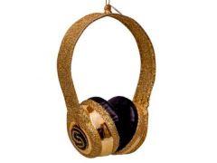 Vondels glazen gouden koptelefoon met glitters 12 cm