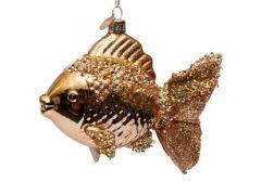 Vondels kerstbal vis goud 10 cm