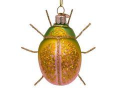 Vondels glitter kever  groen / roze 8 cm