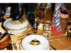 Vondels kerstbal champagne fles zwart met goud 16 cm