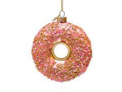 Vondels kerstbal glitter donut roze goud  11 cm