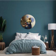Heinen Delfts Blauw Wandcirkel Het Melkmeisje 120 cm