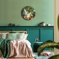 Heinen Delfts Blauw Muurbloempjes 120 cm