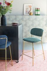 MD Interior barstoel Jolien donker groen / goud - set van 2
