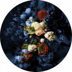 Heinen Delfts Blauw Wandcirkel Bloemenpracht 120 cm