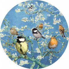 Heinen Delfts Blauw Wandcirkel Vogels van Van Gogh 120 cm