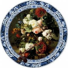 Heinen Delfts Blauw Wandcirkel Delftse Bloemenpracht 120 cm