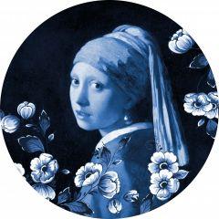 Heinen Delfts Wandcirkel Meisje met de Parel 100 cm