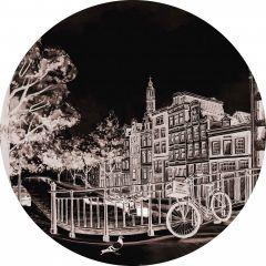 Heinen Delfts Wandcirkel Zwart Amsterdam 100 cm