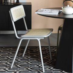 Zuiver chair Jort retro rattan licht grijs / naturel ( set van 2 )