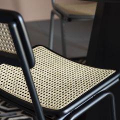 Zuiver chair Jort retro rattan zwart / naturel ( set van 2 )